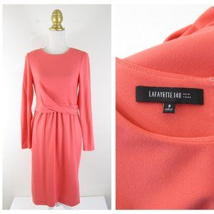 Lafayette 148 Pink Long Sleeve Twist Front Dress